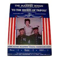 Vintage 1942 Sheet Music Featuring United States  Marine Armed Services Hymn Song