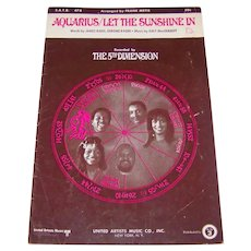 Vintage 1969 Sheet Music Featuring The 5th Dimension Titled Hit Song Aquarius Let The Sunshine In