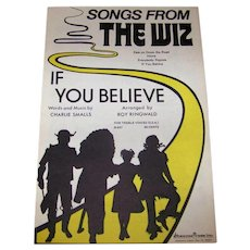 Vintage 1974 Sheet Music Featuring Songs From Broadway Show The Wiz