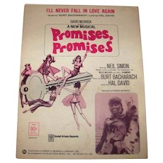 """Vintage 1969 Sheet Music For Neil Simon Musical Titled Promises, Promises Featuring Song I""""ll Never Fall In Love Again"""
