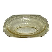Vintage 1932-1939 Federal Glass Madrid Amber Square Round Vegetable Bowl