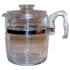 Vintage 1936-1945 Pyrex Flameware 9-Cup Glass Coffee Pot