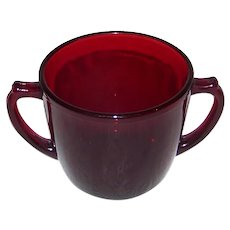 Vintage 1938-1967 Anchor Hocking R1700 Royal Ruby Footed Open Sugar & Footed Creamer