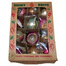 Vintage 1940's Shiny Brite Double Indent Drop Finial Christmas Tree Ornament Set