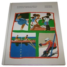 Vintage 1980 Olympic Games US Illustrated Postal Book With Stamps & Stationary