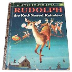 Vintage 1958 Little Golden Book Children's Hardback Book Titled Rudolph The Red Nosed Reindeer