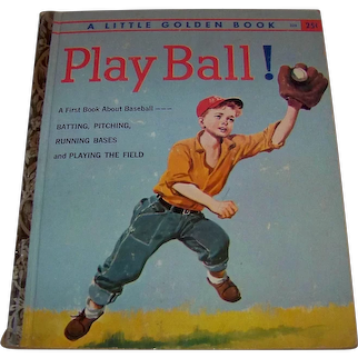 Vintage 1958 Little Golden Books Children's Hardback Book Titled Play Ball