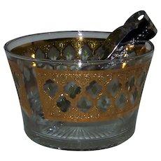 Vintage 1960's Culver Glass Ice Bucket In Valencia Pattern
