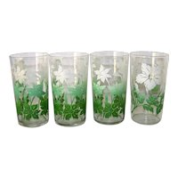 Vintage Mid-Century Floral Motif Glassware Set