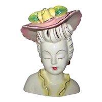 Vintage 1940's Porcelain Ladies Head Vase