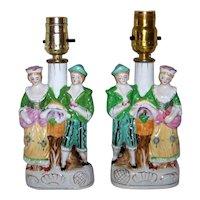 Vintage Pair Of Mid-Century Porcelain Boudoir Figural Table Lamps