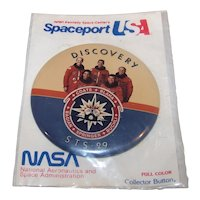 Vintage Spaceport USA NASA STS-29 Discovery Pinback Celluloid Button