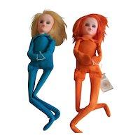 Vintage 1967 Kamar Inc. Knee Hugger Julie & Kristy Dolls