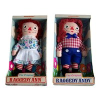 Vintage 1960's Knickerbocker Toys Raggedy Ann & Andy Dolls