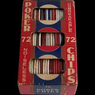 Vintage Set Of 72 Multi-Color Unbreakable Noiseless Poker Chips