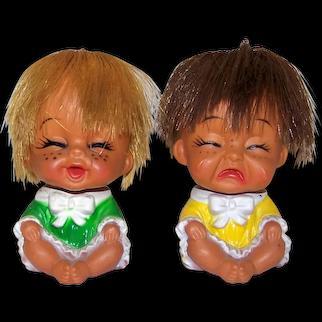 Vintage 1960's Herman Pecker Sassy Emotion Twin Girls Dolls
