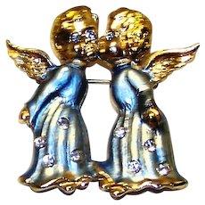 Vintage 1975-1977 B.J. Beatrix Enameled Kissing Angels Brooch