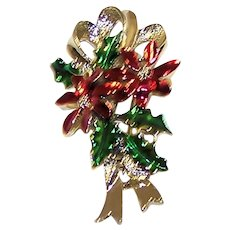 Vintage 1970's Gerry's Signed Enameled Christmas Poinsettia Brooch