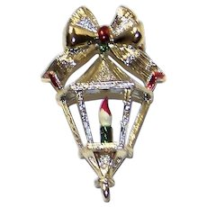 Vintage 1970's Gerry's Signed Enameled Christmas Candle Lamp Post Brooch