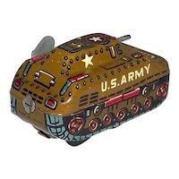 Vintage 1950's Tinplate Litho Toy U.S. Army Tank