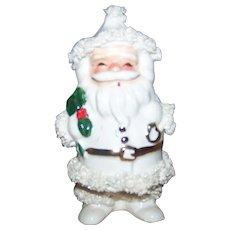 Vintage 1960 Napco Porcelain Spaghetti Style White Christmas Santa Claus Candy Holder