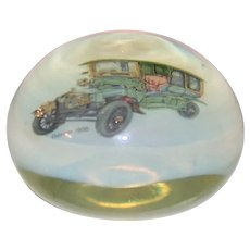 Vintage 1905 Daimler Automobile Iridescent Glass Paperweight