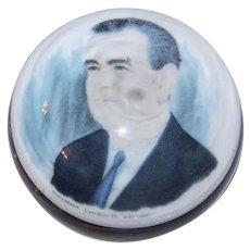 Vintage 1965 Signed John Gentile President Lyndon Baines Johnson Glass Paperweight