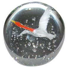 Vintage Signed Gentile Glass Flying Goose Controlled Bubble Paperweight