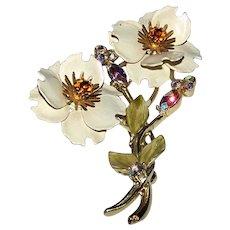 Vintage Signed Coro Gold Tone Rhinestone & Enameled Floral Pinback Brooch