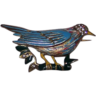 Vintage Mid-Century Costume Jewelry Gold Tone & Jeweled Perched Bird Pinback Brooch