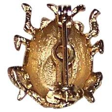 Vintage 1960's Hattie Carnegie Signed Ladybug Pinback Brooch