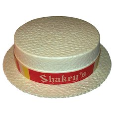 Vintage 1960's Shakey's Pizza Parlor Faux Straw Shaker Hat