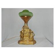 Vintage Art Deco or Art Nouveau Figural Lamp Love Meets