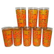 Vintage Mid-Century Tea or Water Glasses –Orange with Flowers