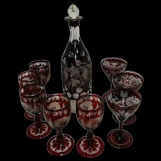 Vintage Bohemian Pigeon Blood Decanter and Ruby Cut to Clear Glasses