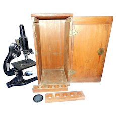 Vintage 1940's American Optical Spencer Microscope with Wood Case