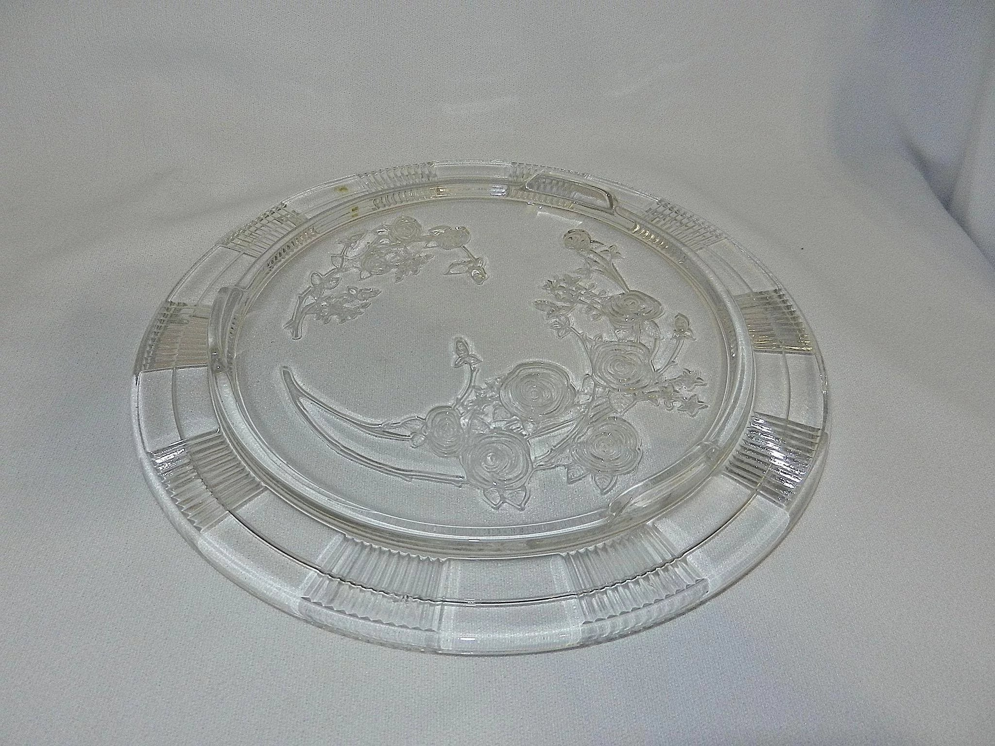 Vintage Clear Sharon Rose Pattern Footed Cake Plate By