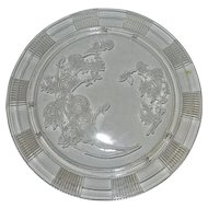 Vintage Clear Sharon Rose Pattern Footed Cake Plate by Federal Glass