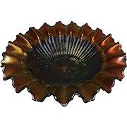 Vintage Purple Northwood Stippled Rays Pie Crust Edge Carnival Glass Bowl