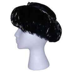 Vintage Mid-Century Jan Leslie Feathered Hat circa 1960s