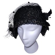 Vintage Black Flapper Skull Cap Hat with Sequins Crochet Body and Voil