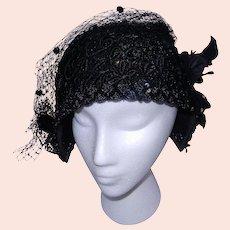 Vintage Black Flapper Skull Cap Hat with Sequins Crochet Body and Voil