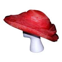Vintage Miss Bierner Red Straw Hat with Flower