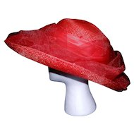 Vintage Miss Bierner Red Straw Hat with Flower