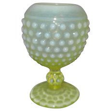 Fenton Opalescent Hobnail Topaz Vaseline Glass Ivy Ball Rose Bowl Vase