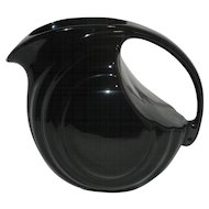 Vintage Black Pottery Pitcher with Ice Lip