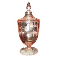 Vintage Lidded Pink Optic Paneled Intaglio Depression Glass Pedestal Candy Dish