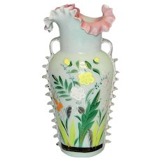 Antique Bristol Hand Blown Victorian Art Glass Hand Painted Vase