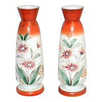 Vintage Bristol Hand Blown Victorian Art Glass Hand Painted Vases