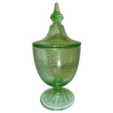Vintage Green Crackle Glass Candy Dish